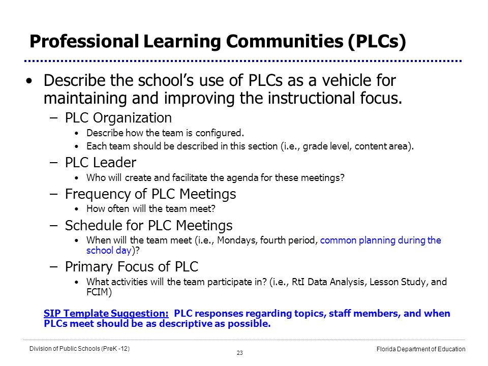 23 Division of Public Schools (PreK -12) Florida Department of Education Professional Learning Communities (PLCs) Describe the schools use of PLCs as