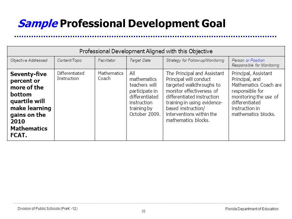 32 Division of Public Schools (PreK -12) Florida Department of Education Sample Professional Development Goal Professional Development Aligned with th
