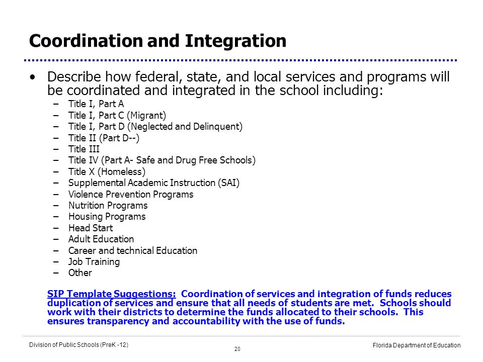 20 Division of Public Schools (PreK -12) Florida Department of Education Coordination and Integration Describe how federal, state, and local services