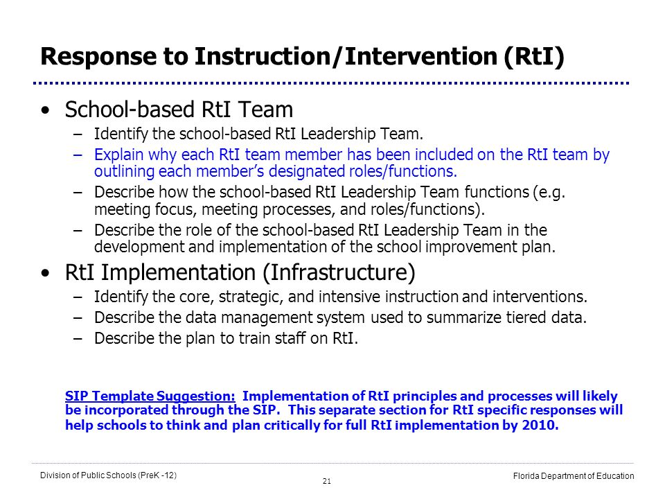 21 Division of Public Schools (PreK -12) Florida Department of Education Response to Instruction/Intervention (RtI) School-based RtI Team –Identify th