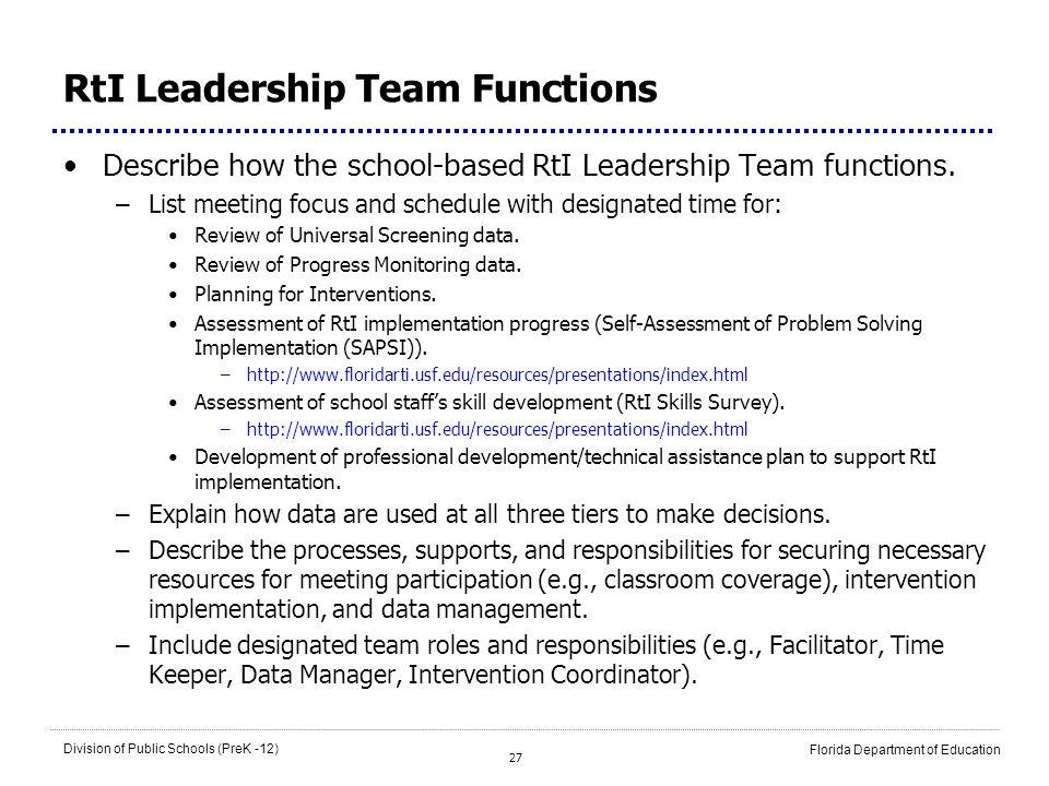 27 Division of Public Schools (PreK -12) Florida Department of Education RtI Leadership Team Functions Describe how the school-based RtI Leadership Te