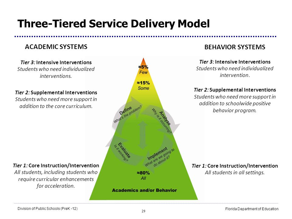 29 Division of Public Schools (PreK -12) Florida Department of Education Three-Tiered Service Delivery Model ACADEMIC SYSTEMS Tier 3: Intensive Interv