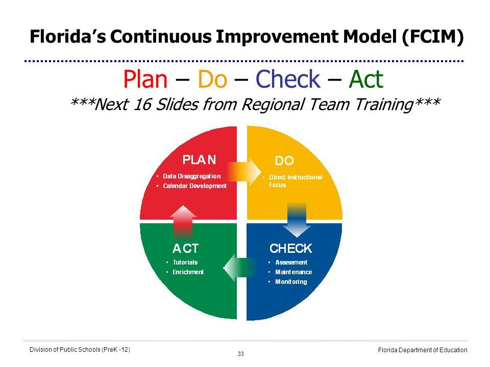 33 Division of Public Schools (PreK -12) Florida Department of Education Floridas Continuous Improvement Model (FCIM) Plan – Do – Check – Act ***Next