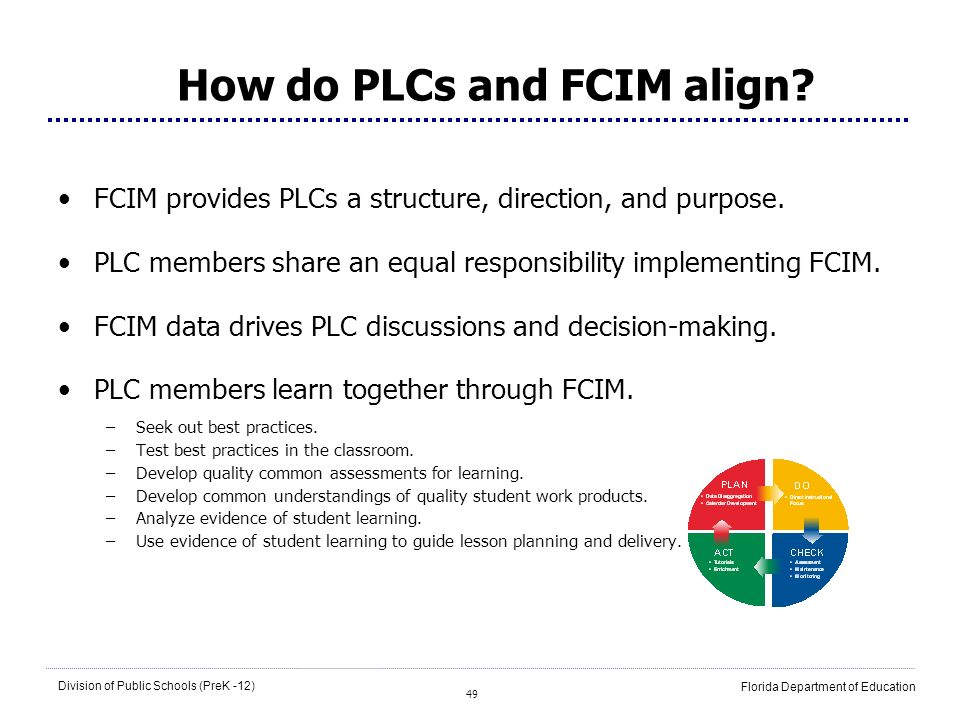 49 Division of Public Schools (PreK -12) Florida Department of Education How do PLCs and FCIM align? FCIM provides PLCs a structure, direction, and pu