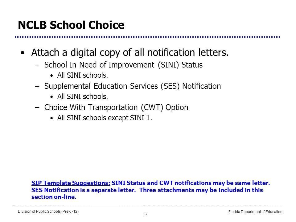 57 Division of Public Schools (PreK -12) Florida Department of Education NCLB School Choice Attach a digital copy of all notification letters. –School