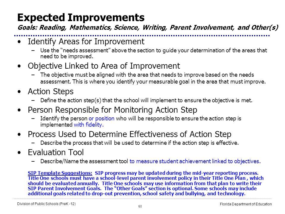 60 Division of Public Schools (PreK -12) Florida Department of Education Expected Improvements Goals: Reading, Mathematics, Science, Writing, Parent I