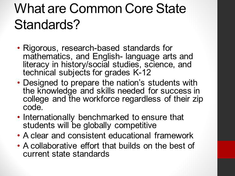 Common Core State Standards English Language Arts & Literacy in History/Social Studies, Science, and Technical Subjects 2011-2012 Begin Implementation of Literacy Standards for all Content Areas Grades K-1 Begin Implementation of Rich and Complex Text and Informational Text for Grades K-1 Begin Lesson Study Model at grades 6-8 (Science) 2012-2013 Full Implementation Grades K-1 Begin Implementation of Literacy Standards for all Content Areas Grades 2-12 Begin Implementation of Rich and Complex Text and Informational Text for Grades 2-12 Begin use of Lesson Study Model for integration of CCSS for other Grades 2013-2014 Full Implementation of Literacy Standards for all Content Areas Grades K-12 Continue Implementation of Rich and Complex Text and Informational Text for Grades 2-12 Continue use of Lesson Study Model for integration of CCSS for Grades K-12 2014-2015 Full Implementation Grades K-12 Partnership for Assessment of Readiness of College and Careers (PARCC) Assessments Aligned to CCSS Timeline 2011-2015