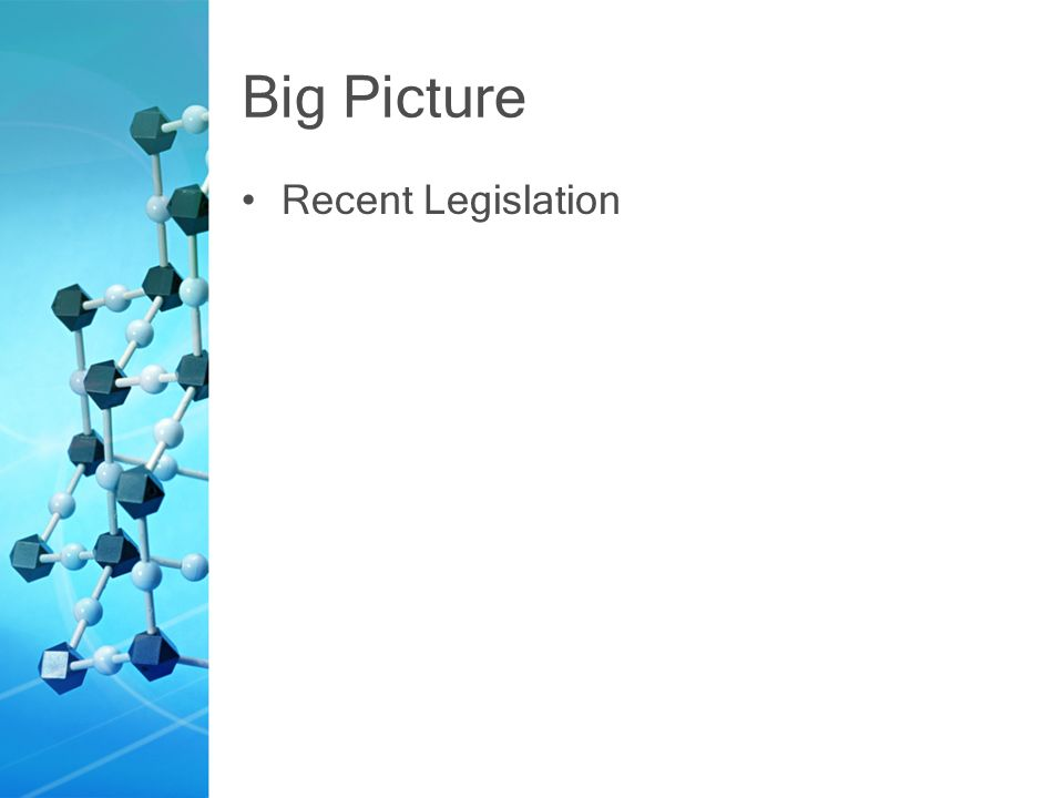 Big Picture Recent Legislation