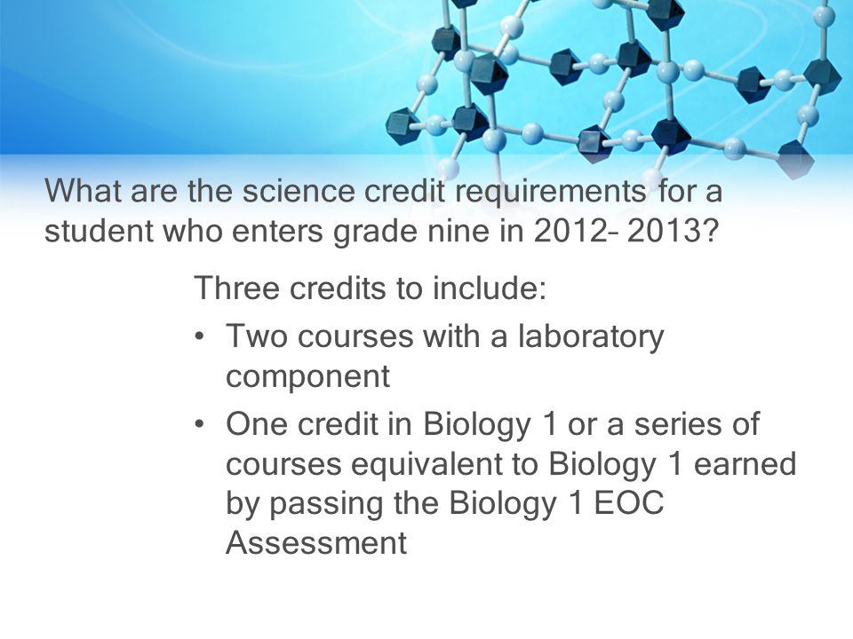 What are the science credit requirements for a student who enters grade nine in 2012– 2013.
