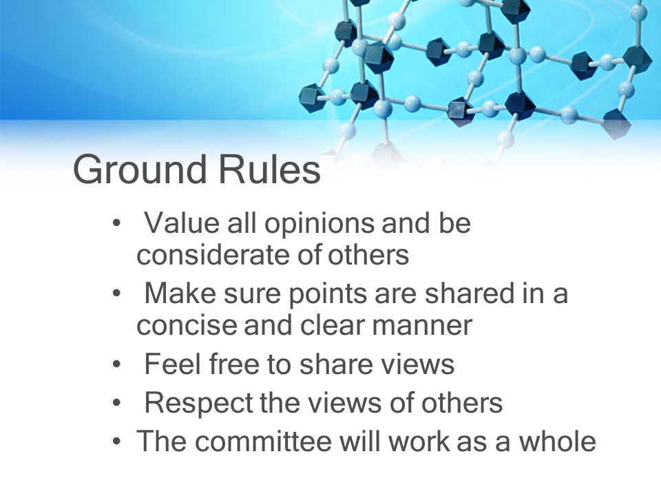 Ground Rules Value all opinions and be considerate of others Make sure points are shared in a concise and clear manner Feel free to share views Respect the views of others The committee will work as a whole