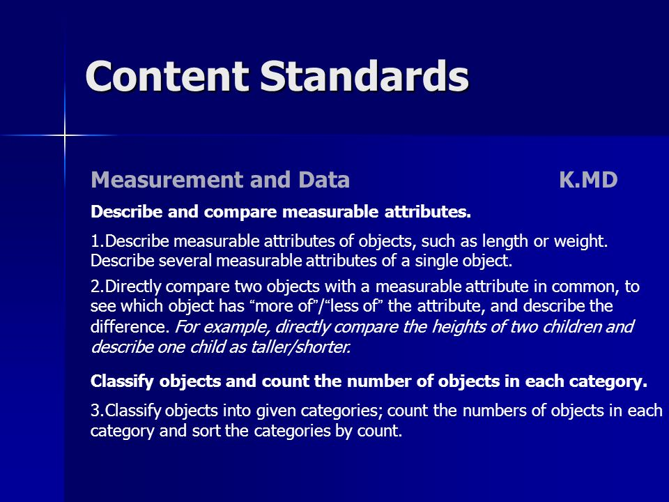 Content Standards Measurement and Data K.MD Describe and compare measurable attributes. 1.Describe measurable attributes of objects, such as length or