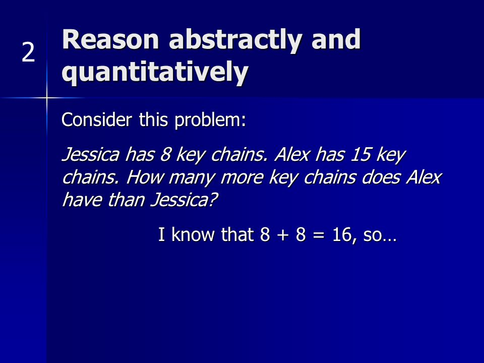 Reason abstractly and quantitatively Consider this problem: Jessica has 8 key chains. Alex has 15 key chains. How many more key chains does Alex have
