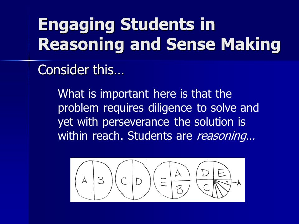 Consider this… What is important here is that the problem requires diligence to solve and yet with perseverance the solution is within reach. Students