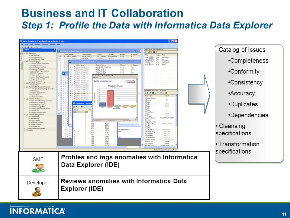 11 Business and IT Collaboration Step 1: Profile the Data with Informatica Data Explorer Catalog of Issues Completeness Conformity Consistency Accuracy Duplicates Dependencies Cleansing specifications Transformation specifications Profiles and tags anomalies with Informatica Data Explorer (IDE) Reviews anomalies with Informatica Data Explorer (IDE) SME Developer