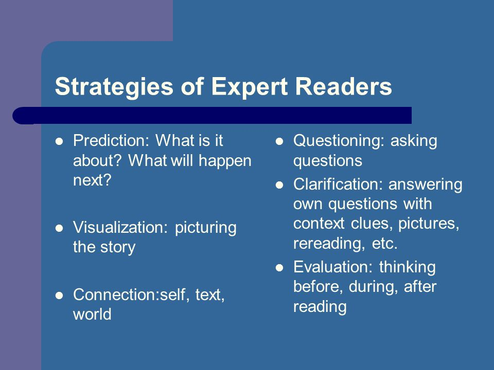 Strategies of Expert Readers Prediction: What is it about.