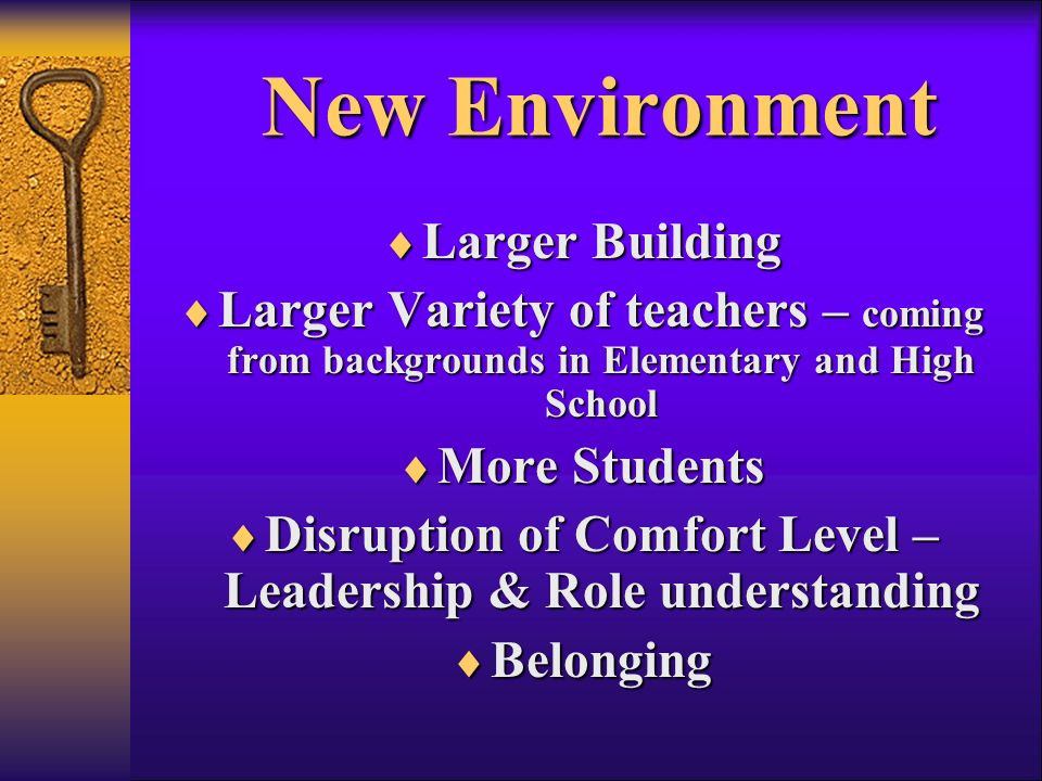 New Environment Larger Building Larger Building Larger Variety of teachers – coming from backgrounds in Elementary and High School Larger Variety of teachers – coming from backgrounds in Elementary and High School More Students More Students Disruption of Comfort Level – Leadership & Role understanding Disruption of Comfort Level – Leadership & Role understanding Belonging Belonging