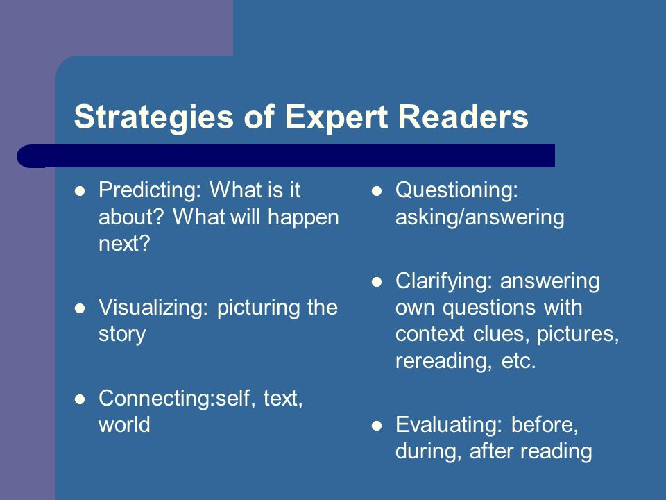 Strategies of Expert Readers Predicting: What is it about.