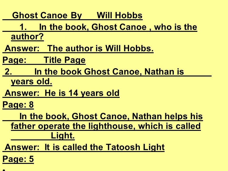 Ghost CanoeBy Will Hobbs 1. In the book, Ghost Canoe, who is the author.