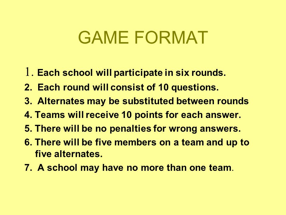 GAME FORMAT 1. Each school will participate in six rounds. 2. Each round will consist of 10 questions. 3. Alternates may be substituted between rounds