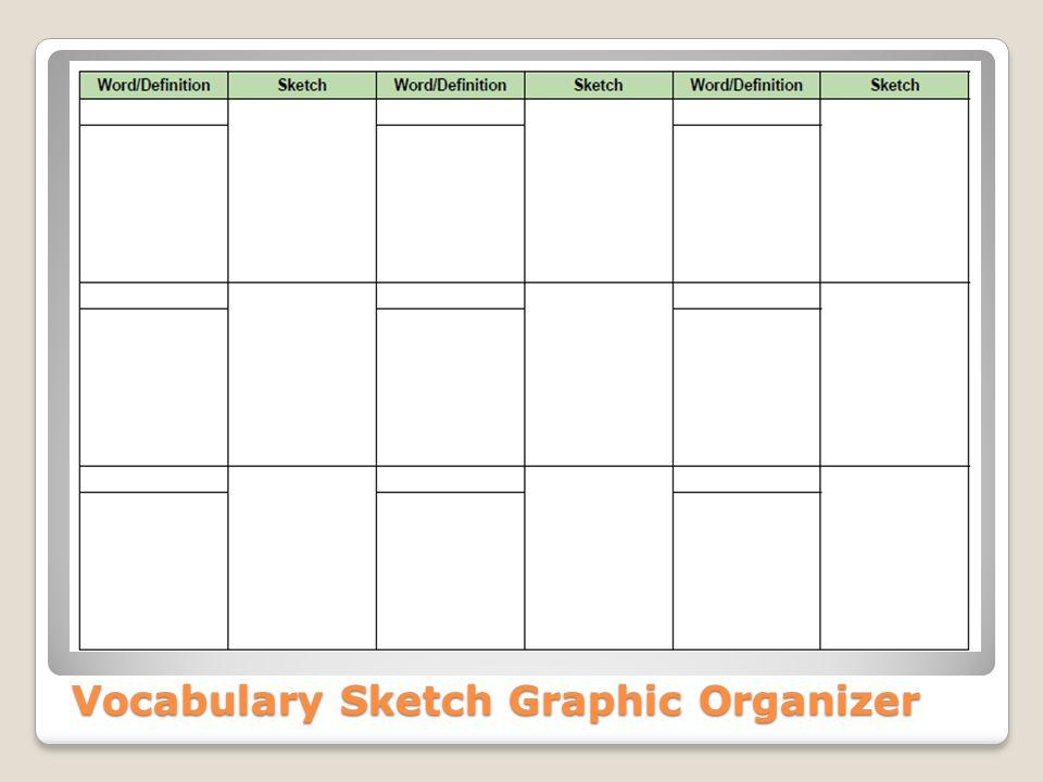 Vocabulary Sketch Graphic Organizer