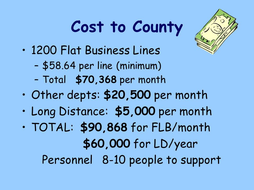 Cost to County 1200 Flat Business Lines –$58.64 per line (minimum) –Total $70,368 per month Other depts: $20,500 per month Long Distance: $5,000 per month TOTAL: $90,868 for FLB/month $60,000 for LD/year Personnel 8-10 people to support