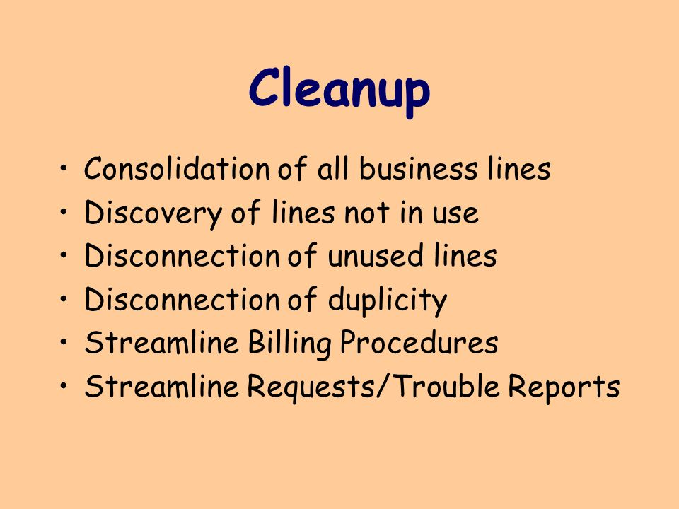 Cleanup Consolidation of all business lines Discovery of lines not in use Disconnection of unused lines Disconnection of duplicity Streamline Billing Procedures Streamline Requests/Trouble Reports