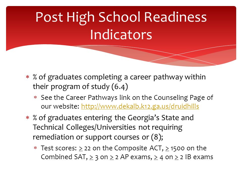 % of graduates completing a career pathway within their program of study (6.4) See the Career Pathways link on the Counseling Page of our website: htt