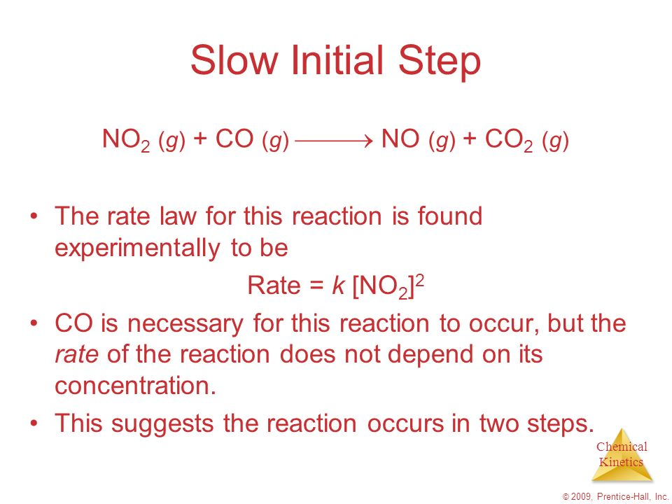 Chemical Kinetics © 2009, Prentice-Hall, Inc. Slow Initial Step The rate law for this reaction is found experimentally to be Rate = k [NO 2 ] 2 CO is