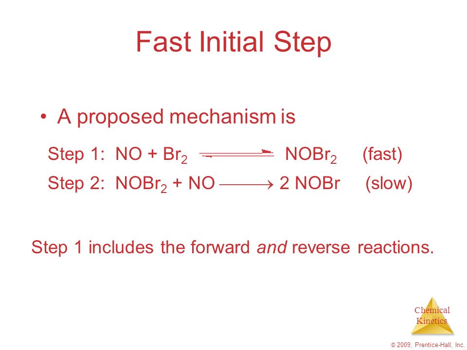 Chemical Kinetics © 2009, Prentice-Hall, Inc. Fast Initial Step A proposed mechanism is Step 2: NOBr 2 + NO 2 NOBr (slow) Step 1 includes the forward