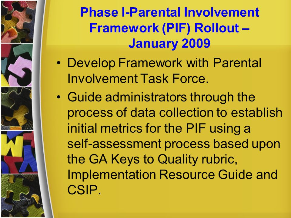 Phase I-Parental Involvement Framework (PIF) Rollout – January 2009 Develop Framework with Parental Involvement Task Force. Guide administrators throu