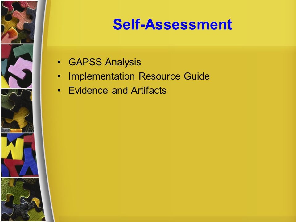 Self-Assessment GAPSS Analysis Implementation Resource Guide Evidence and Artifacts