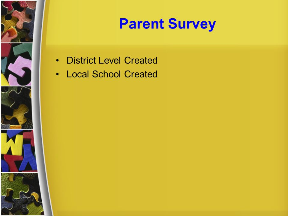 Parent Survey District Level Created Local School Created