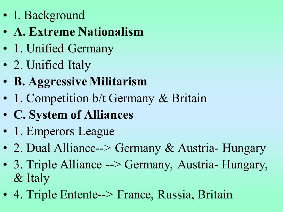 I. Background A. Extreme Nationalism 1. Unified Germany 2.
