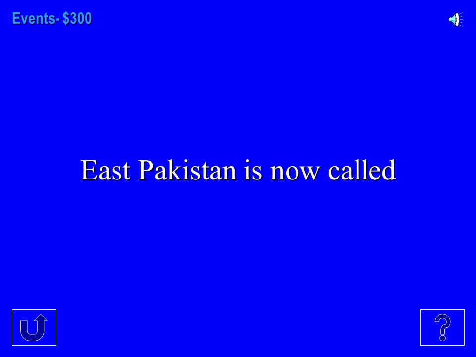 Events - $200 The Pakistans (East and West at the time) were set up for people of what religion