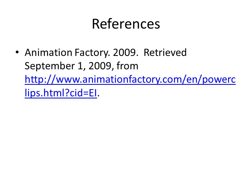 References Animation Factory