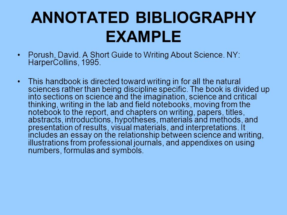 "annotate bibliography What is an annotated bibliography what is a bibliography often called a ""works cited list"" or ""reference list,"" it's a list, usually found at the end of."