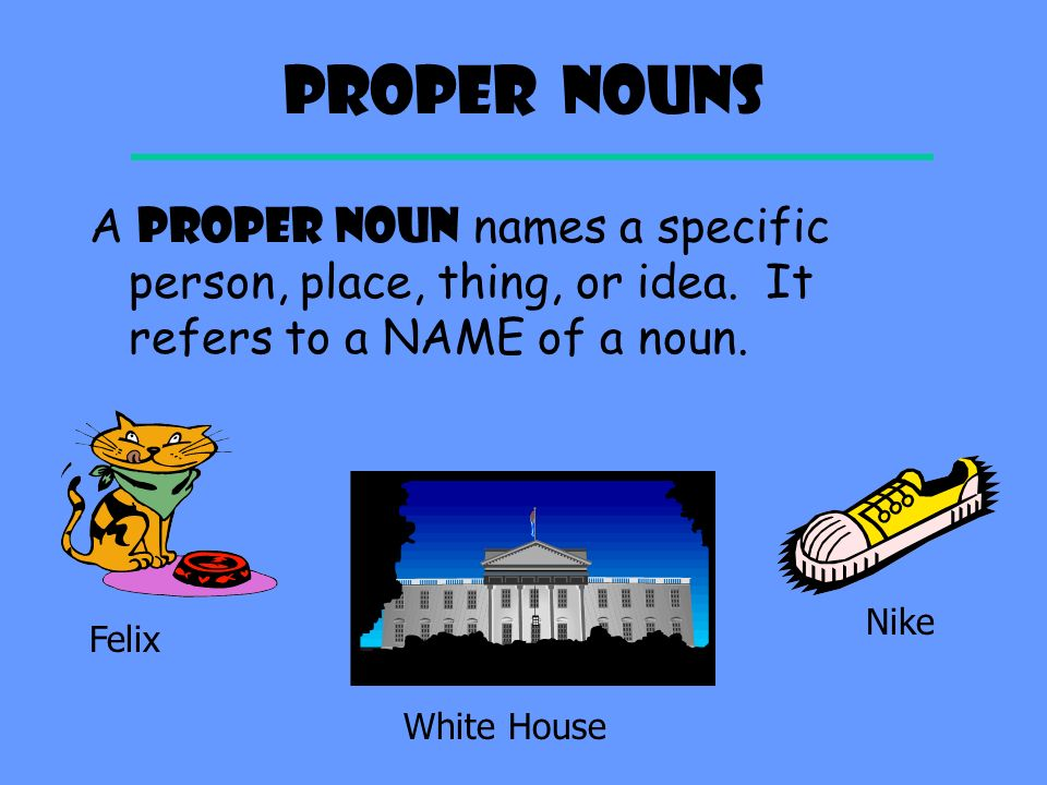 Common Nouns A COMMON NOUN names a general person, place, thing, or idea. It does not refer to something specific. cat house shoe