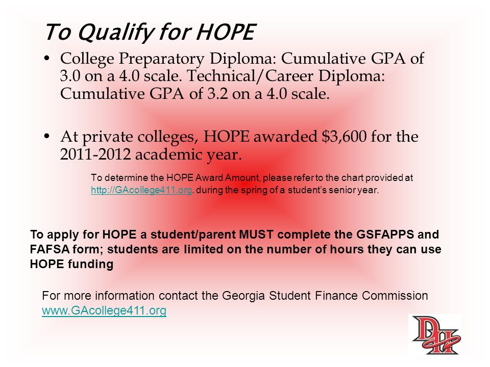 To Qualify for HOPE College Preparatory Diploma: Cumulative GPA of 3.0 on a 4.0 scale.