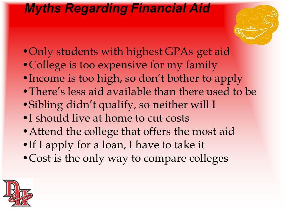 Myths Regarding Financial Aid Only students with highest GPAs get aid College is too expensive for my family Income is too high, so dont bother to apply Theres less aid available than there used to be Sibling didnt qualify, so neither will I I should live at home to cut costs Attend the college that offers the most aid If I apply for a loan, I have to take it Cost is the only way to compare colleges