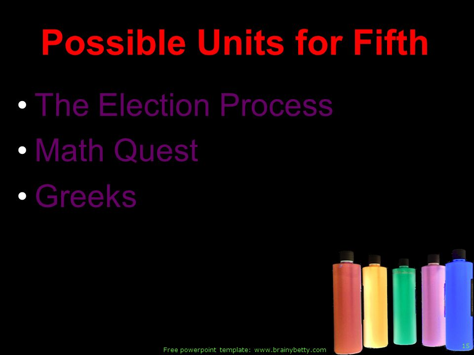 Free powerpoint template: www.brainybetty.com 15 Possible Units for Fifth The Election Process Math Quest Greeks