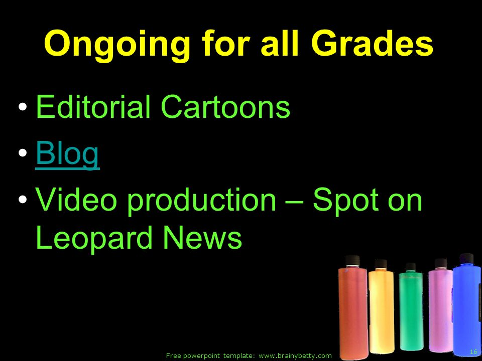 Free powerpoint template: www.brainybetty.com 16 Ongoing for all Grades Editorial Cartoons Blog Video production – Spot on Leopard News