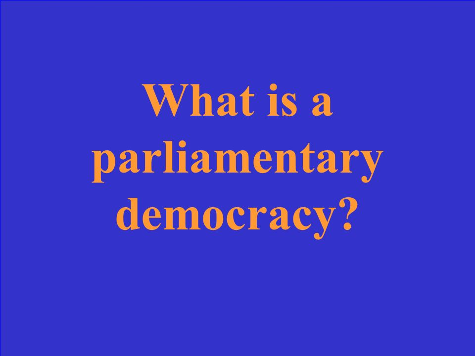 A form of democracy where the legislative branch selects the leader