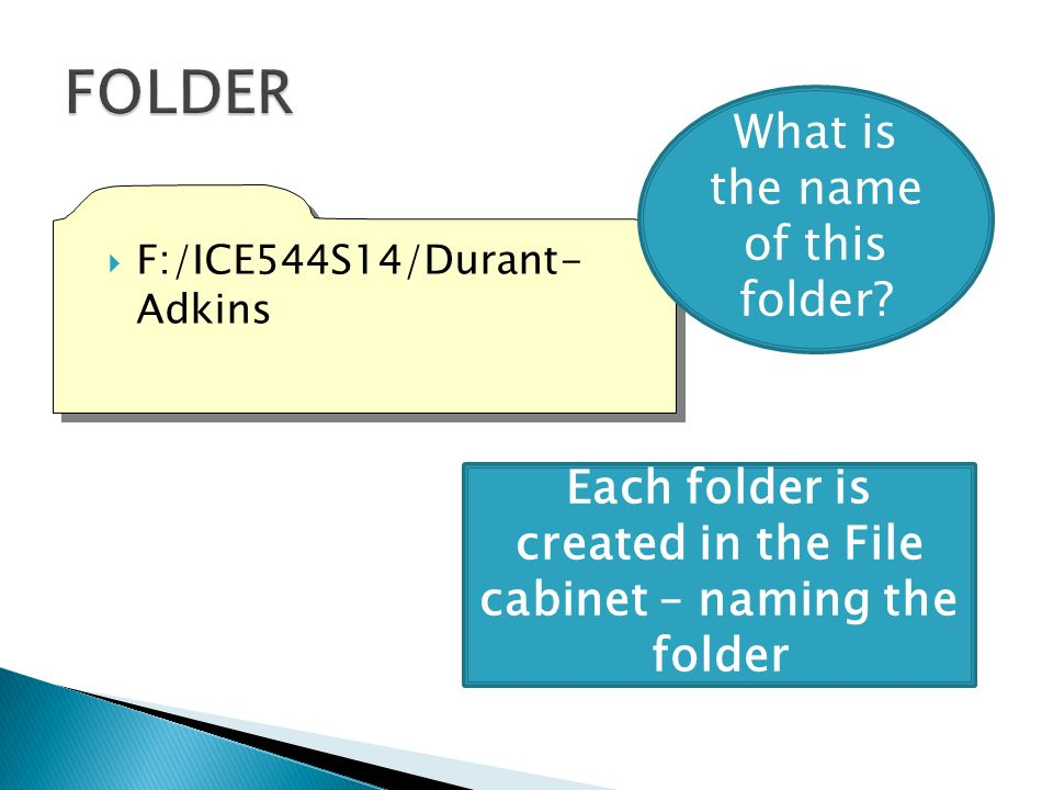 F:/ICE544S14/Durant- Adkins Each folder is created in the File cabinet – naming the folder What is the name of this folder