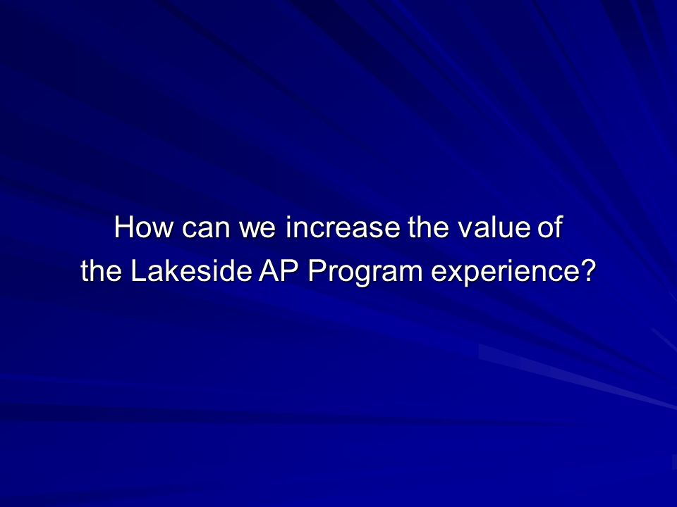 How can we increase the value of the Lakeside AP Program experience
