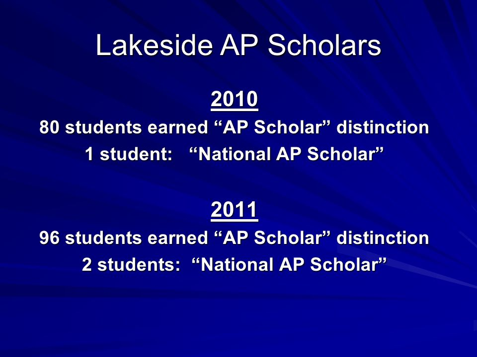 Lakeside AP Scholars students earned AP Scholar distinction 1 student: National AP Scholar students earned AP Scholar distinction 2 students: National AP Scholar