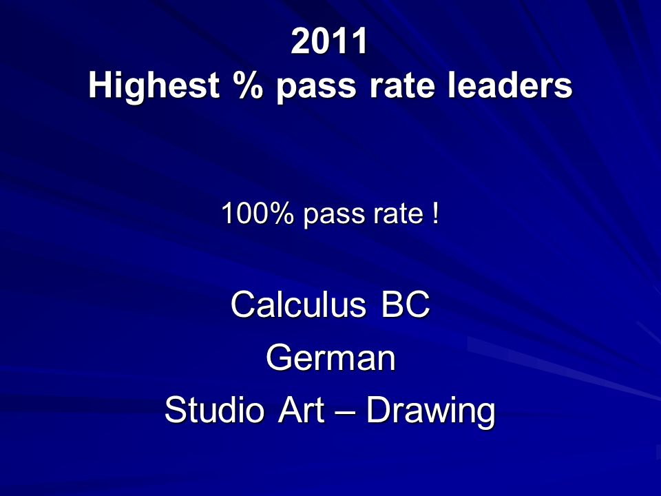 2011 Highest % pass rate leaders 100% pass rate ! Calculus BC German Studio Art – Drawing