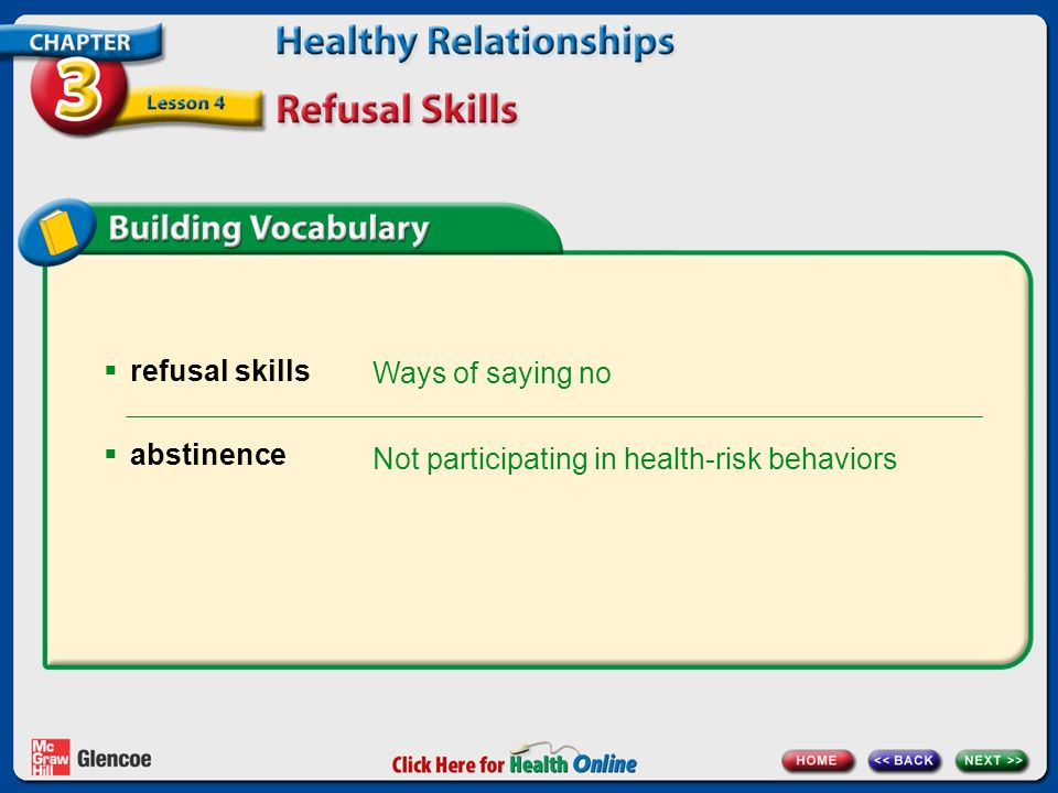 refusal skills abstinence Ways of saying no Not participating in health-risk behaviors