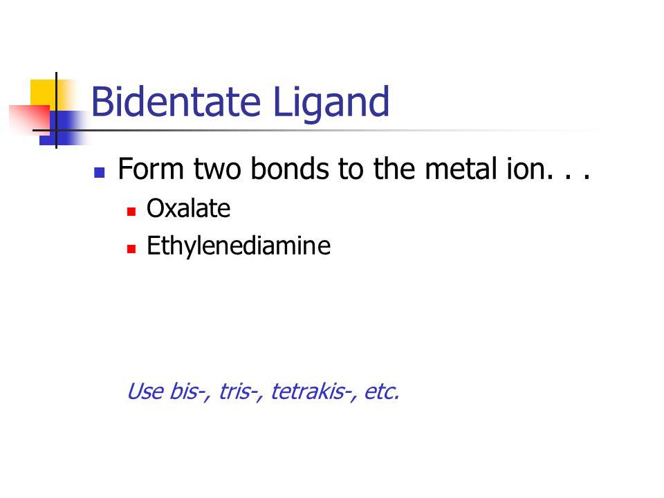 Bidentate Ligand Form two bonds to the metal ion... Oxalate Ethylenediamine Use bis-, tris-, tetrakis-, etc.