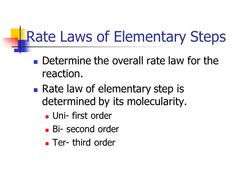 Rate Laws of Elementary Steps Determine the overall rate law for the reaction. Rate law of elementary step is determined by its molecularity. Uni- fir