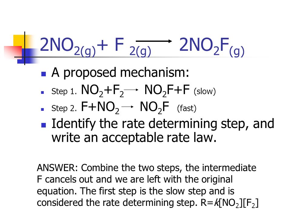 2NO 2(g) + F 2(g) 2NO 2 F (g) A proposed mechanism: Step 1. NO 2 +F 2 NO 2 F+F (slow) Step 2. F+NO 2 NO 2 F (fast) Identify the rate determining step,